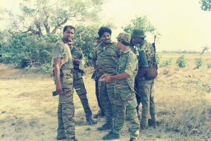 Balraj with fellow commanders Sasikumar master and Soosai during the first LTTE operation on EPS base in 1991